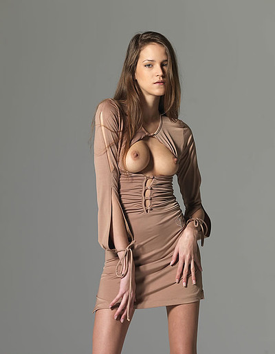 Silvie in Skin Colored Dress from Hegre Art