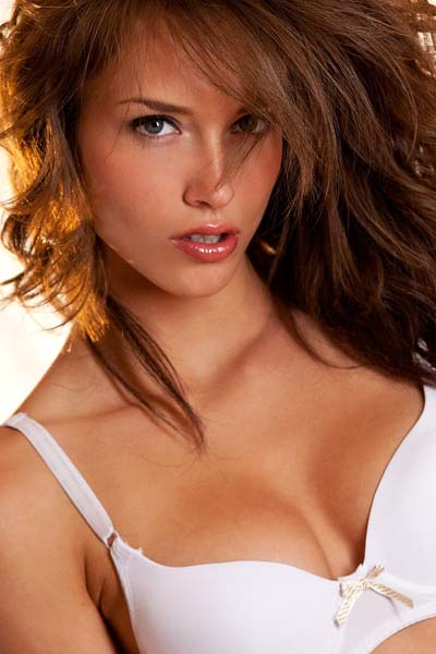 Strips Off Her White Bra