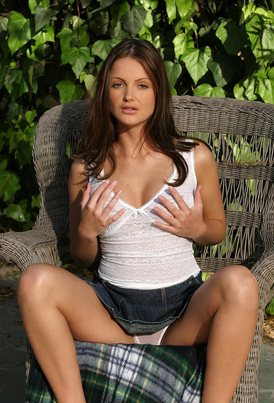 Sandra Shine in Strips Off Her White Shirt And Skirt from Digital Desire