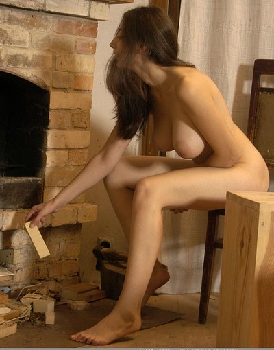 Angela in Busty Angela by the fireplace from Domai