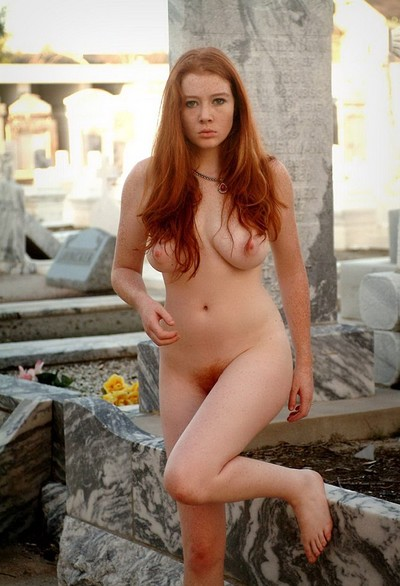 Dominique in Naked redhead babe in strange places from Domai
