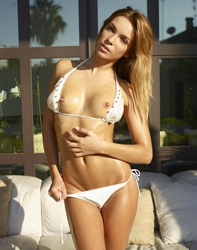 Amber in White Bikini from Hegre Art