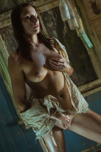 Sexy Victoria Daniels in abandoned building