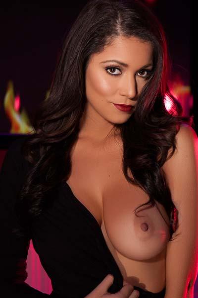 Fantastic brunette Ali Rose stripps off her black dress