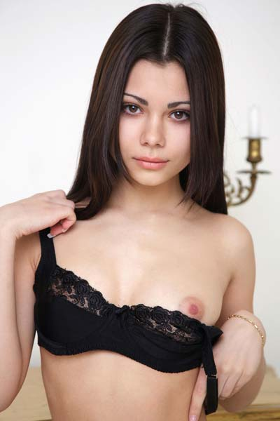 Amazing brunette Precious takes everything off for you