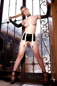 Alaina Fox in latex lingerie