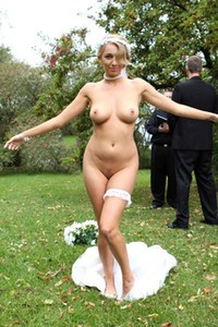 Hayley Marie in a wedding dress