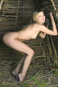 Adorable Lana gets naked in the woods