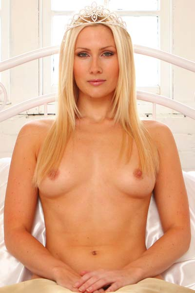 Blonde princess Ashley in the bedroom