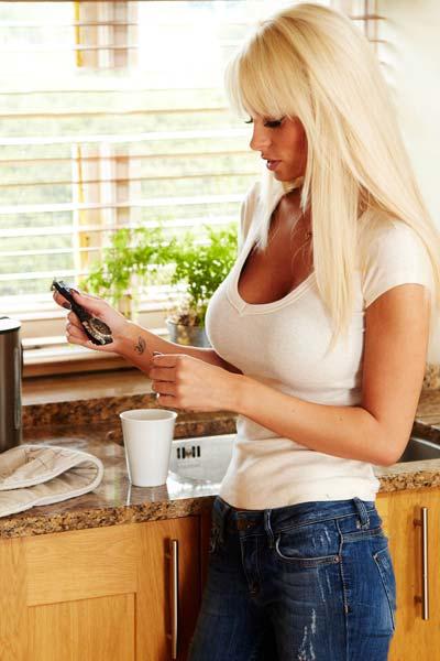 Hot blonde housewife Rhian Sugden