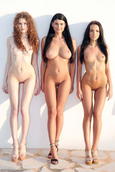 Three wonderful babes strip and tease together