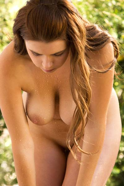 Marina Visconti strips and gets wet outdoors