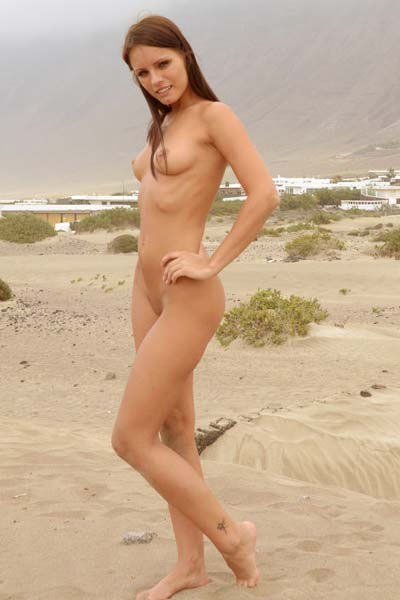 Amazing brunette Kari A reveals her muff outdoors