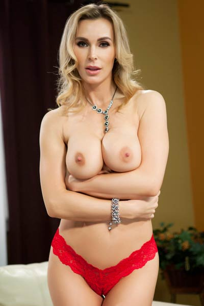 Busty Tanya Tate drops her red lingerie