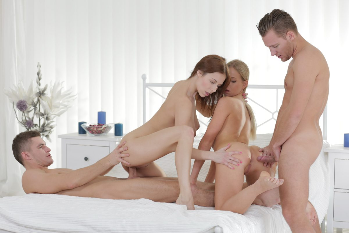 Hot and young foursome sex with blonde and brunette