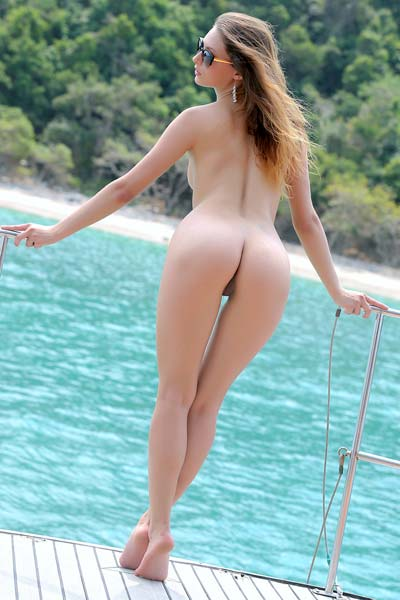 Amazing brunette Marketa strips her bikini on deck
