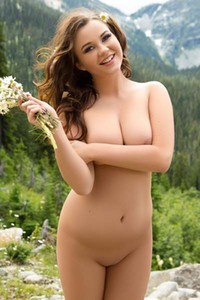 Playboy Cybergirl Ashleigh Rae posing in the mountains