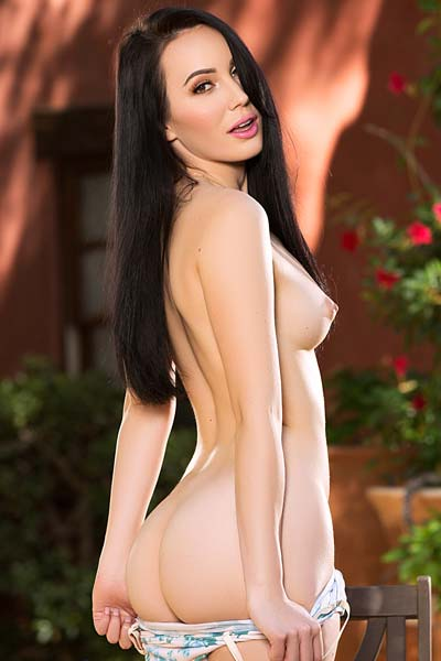 Playboy Dark haired beauty Lauren Oconner flaunts her perfect bubbly ass outdoors