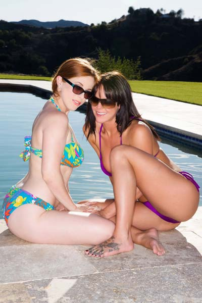 Poolside lesbian lovemaking by Penny Pax and Rahyndee James