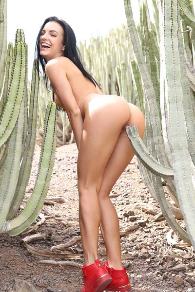 Pretty looking girl Sapphira did a sexy casting in the outdoor field of cactuses