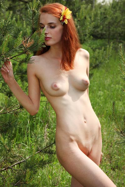Delightful redhead girl Alisa I poses in the forest and shows us her suckable puffy nipples
