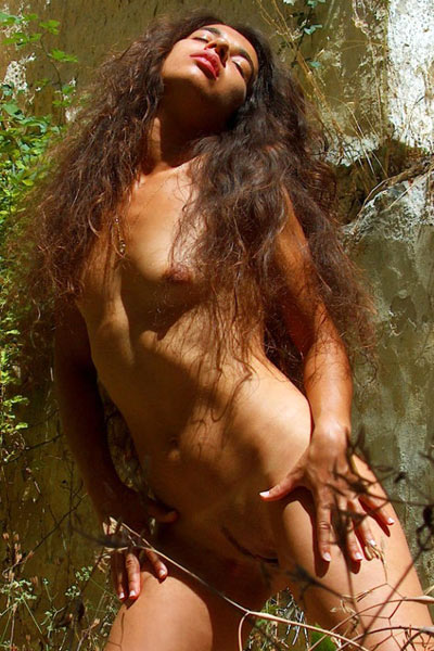 Hot brunette is naked in the woods and posing with a tree