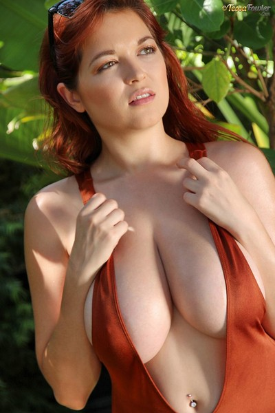 Tessa Fowler in Brown Body Suits BTS from Pinup Files