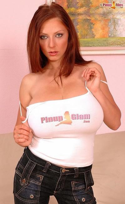 Anya Zenkova in Pinupfiles logo t-shirt from Pinup Files