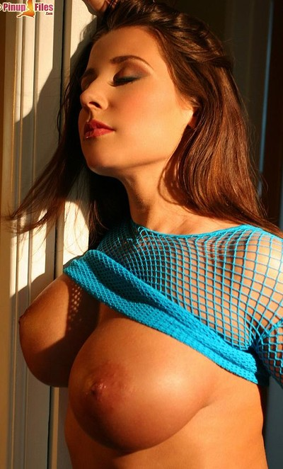 Erica Campbell in Tight Fishnet Top from Pinup Files