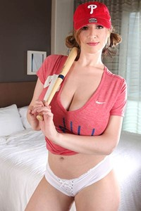 Sporty Lana Kendrick models in baseball gear revealing her big tits and nice ass