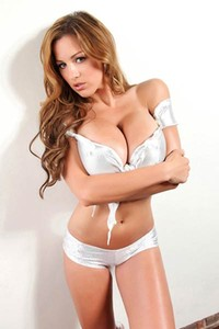 Jordan Carver models in a tight t shirt showing off her huge juicy tits
