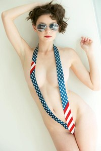 Rylee Marks shows her patriotism wearing just a flag tie and nothing else