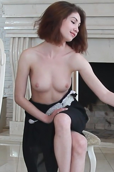 Noreen drops her black dress and starts feeling her sexy perky boobs and tasty pussy