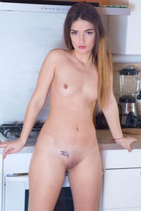 Young brunette Aggie is naked and ready to pose in the kitchen