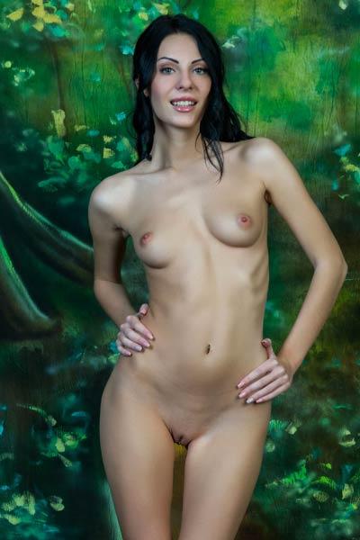 Perky and skinny Rafaella displays her nude body on the floor