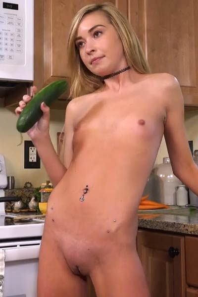 Hot and kinky blonde babe Kylie Nicole gets dirty in the kitchen