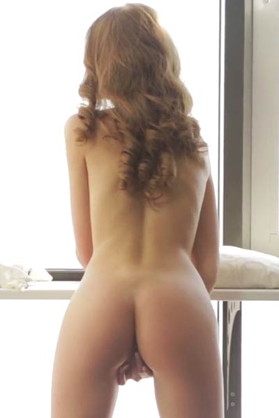 Tiny and sexy brunette babe Tini rubs her meaty wild beaver