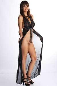 Romanetta teasing us with long transparent dress just showing her shaved vagina