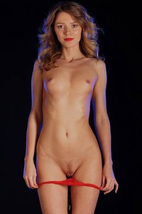 Tempting curly babe Mary Kalisy strips her hot lingerie and bares her delightful body