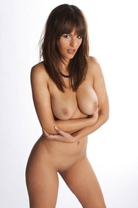 Brunette with perfectly rounded boobs Romanetta showing off her all naked body