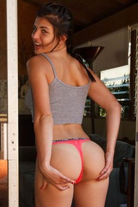 Cute Leah Gotti knows she have perfect booty and she likes to expose it