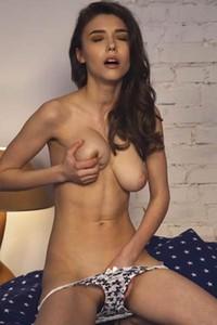 Fabulous busty cutie Mila Azul masturbates intensively as she reads erotic novel