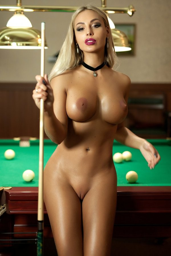 Sexy Girl Sitting On Pool Table In Fully Naked For Exposing