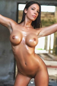 Savannah erupts with sex appeal as she walks naked showcasing her outstanding sweaty body