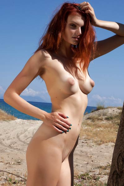 Fun photoshoot session with an alluring redhead with yummy perky tits with puffy suckable nipples