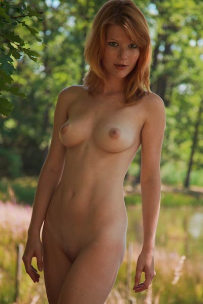 Nicely curved chick getting naked and posing in nude outdoors in nature