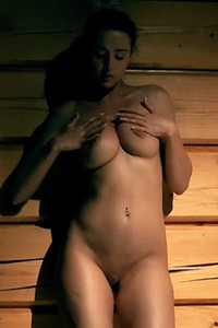 Incredibly beautiful Sybil A masturbate in a wooden barn and teases with her perfect ass and tits