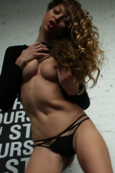 Skinny and sexy chick gets naked and teasing in the abandoned building