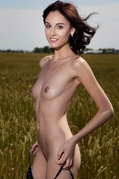 Sabrina G displays her sweet small tits while posing naked in the grassy field