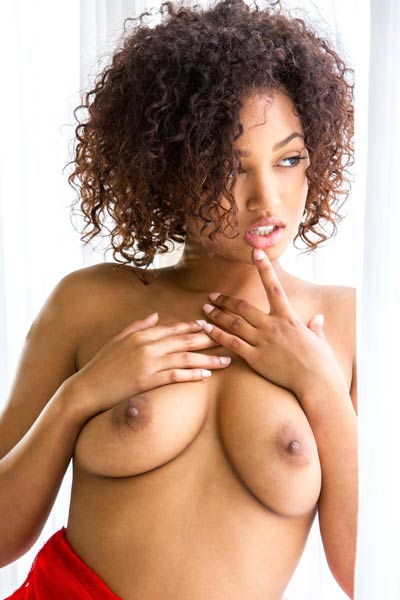 Magnificent ebony hottie Noel Monique strips down and shows off her delectable curvy body